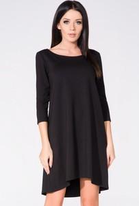Sukienka sukienki.pl z długim rękawem rozkloszowana z okrągłym dekoltem