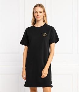 Czarna sukienka Armani Exchange mini z krótkim rękawem z okrągłym dekoltem