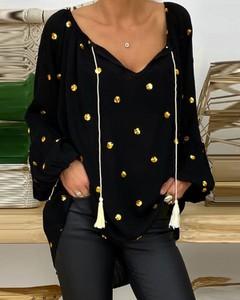Bluzka Kendallme z dekoltem w kształcie litery v z długim rękawem w stylu casual