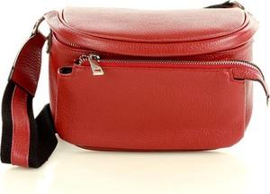Czerwona torebka GENUINE LEATHER ze skóry na ramię