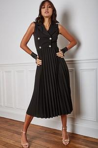 Sukienka Vanille & Chocolat bez rękawów midi z dekoltem w kształcie litery v