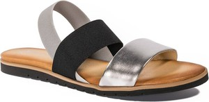 Srebrne sandały Neścior w stylu casual ze skóry