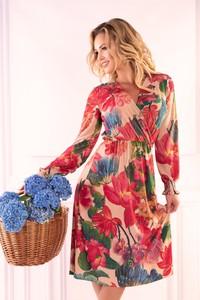 Sukienka Ptakmoda.com z długim rękawem z dekoltem w kształcie litery v kopertowa