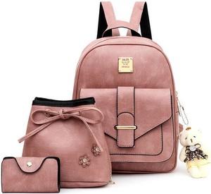 Różowy plecak Sandbella ze skóry