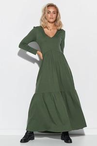 Zielona sukienka Makadamia z długim rękawem maxi z dekoltem w kształcie litery v