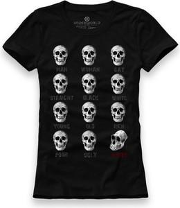 Czarny t-shirt Underworld z krótkim rękawem z bawełny z okrągłym dekoltem
