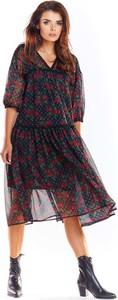 Sukienka Awama z długim rękawem z dekoltem w kształcie litery v z szyfonu