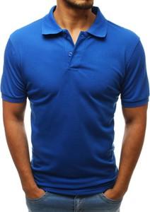 Niebieska koszulka polo Dstreet w stylu casual z krótkim rękawem z bawełny