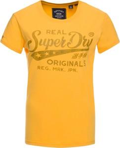 Żółty t-shirt Superdry z okrągłym dekoltem z krótkim rękawem