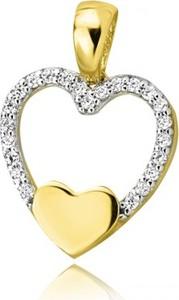 Hosa Złota zawieszka dwa serca otoczone cyrkoniami (łączone złoto)