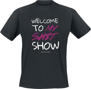 Czarny t-shirt Emp w młodzieżowym stylu z bawełny z krótkim rękawem