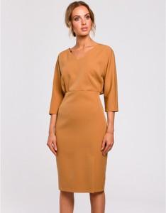 Brązowa sukienka MOE z długim rękawem ołówkowa