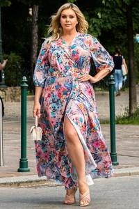 Sukienka KARKO z długim rękawem maxi kopertowa