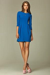 Niebieska sukienka Nife z okrągłym dekoltem