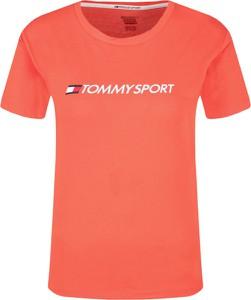 T-shirt Tommy Sport w młodzieżowym stylu z okrągłym dekoltem