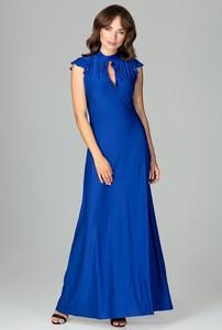 Niebieska sukienka sukienki.pl z dekoltem typu choker rozkloszowana