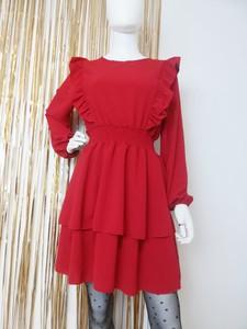 Czerwona sukienka Luashop.pl mini z długim rękawem