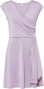 Fioletowa sukienka bonprix z dekoltem w kształcie litery v z dżerseju mini