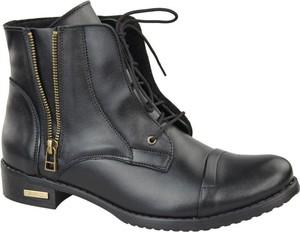Czarne botki Jankobut w stylu casual sznurowane
