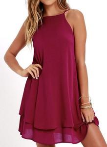 Czerwona sukienka Sandbella mini z szyfonu