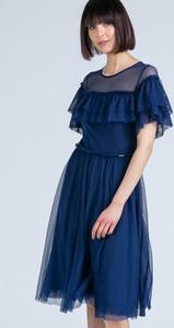 Sukienka Monnari z krótkim rękawem midi z tiulu