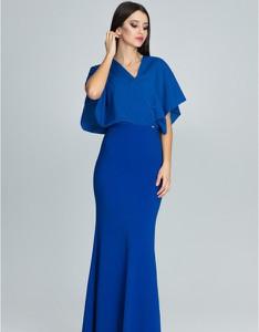Niebieska sukienka Figl maxi z dekoltem w kształcie litery v
