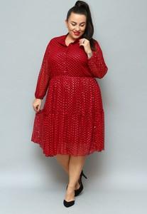 Czerwona sukienka KARKO midi z tkaniny z długim rękawem