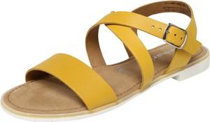Żółte sandały Tamaris ze skóry w stylu casual z klamrami