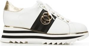 Buty sportowe Wittchen sznurowane ze skóry na platformie