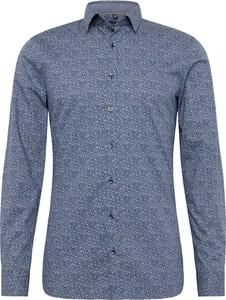 Niebieska koszula Olymp z długim rękawem z bawełny