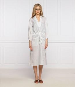 Sukienka Tory Burch z dekoltem w kształcie litery v z długim rękawem z lnu