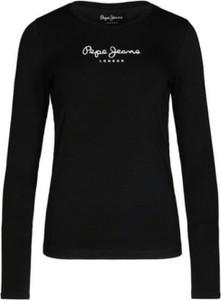 Czarna bluzka Pepe Jeans z bawełny z długim rękawem w stylu casual