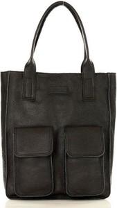 Czarna torebka MAZZINI duża ze skóry