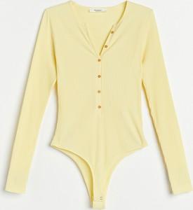 Żółta bluzka Reserved z dekoltem w kształcie litery v w stylu casual z długim rękawem
