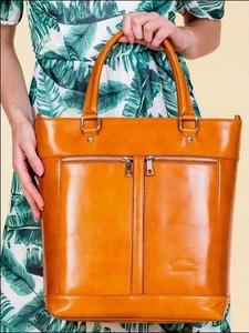 Pomarańczowa torebka Rovicky duża ze skóry do ręki