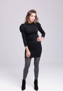 Czarna sukienka Butik Ecru z długim rękawem w stylu casual dopasowana