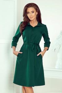 Zielona sukienka NUMOCO koszulowa mini w stylu casual