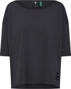 Granatowa bluzka G-Star Raw w stylu casual z okrągłym dekoltem z długim rękawem