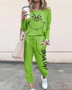 Zielony dres Kendallme z dresówki z nadrukiem