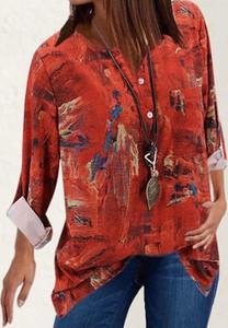 Czerwona bluzka Cikelly w stylu casual z długim rękawem z okrągłym dekoltem