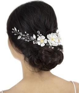 Iloko OZDOBA DO WŁOSÓW biała SREBRNA kwiaty ŚLUBNA perły