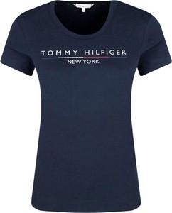 Niebieski t-shirt Tommy Hilfiger z okrągłym dekoltem