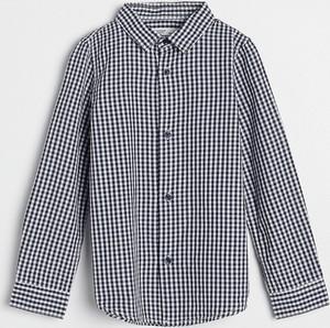 Granatowa koszula dziecięca Reserved w krateczkę