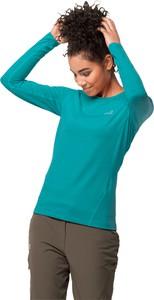 Zielona bluzka Jack Wolfskin z długim rękawem z okrągłym dekoltem