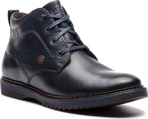 Granatowe buty zimowe Lasocki For Men ze skóry sznurowane
