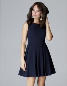 Niebieska sukienka LENITIF bez rękawów z okrągłym dekoltem mini
