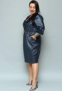 Sukienka KARKO ołówkowa z długim rękawem ze skóry ekologicznej