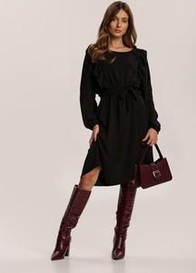 Czarna sukienka Renee mini z długim rękawem