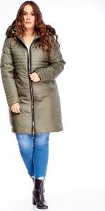 Zielona kurtka TAGLESS długa w stylu casual