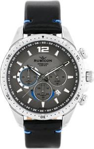 ZEGAREK MĘSKI RUBICON RNCD98 - CHRONOGRAF (zr095c) black/silver - Czarny    Srebrny